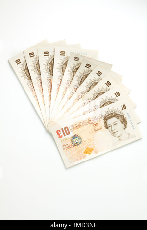 One Hundred Pounds in Ten Pound Notes - Stock Photo