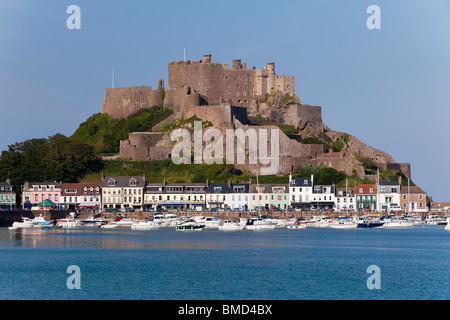Mount Orgueil Castle, overlooking Grouville Bay in Gorey, Jersey, Channel Islands