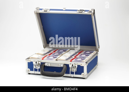 Twenty Pound Notes in Brief Case - Stock Photo