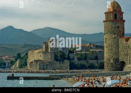 Calliore, South of France, Beach Town,  Overview  on Mediterranean Sea, South of France.  Eglise Notre Dame de Anges - Stock Photo