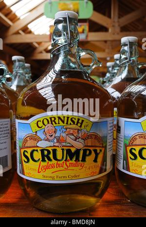 flagons of cornish scrumpy cider , truro, cornwall, uk - Stock Photo