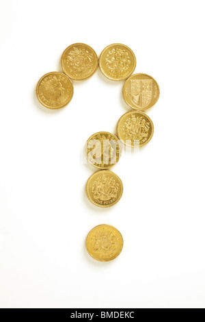 Question Mark in Pound Coins - Stock Photo