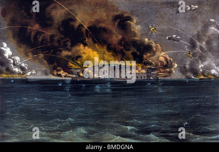 Vintage lithograph print depicting the Battle of Fort Sumter (April 12 - 13 1861) - the beginning of the American - Stock Photo