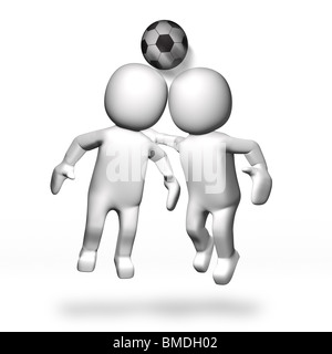 3D Two footballers heading ball - Stock Photo