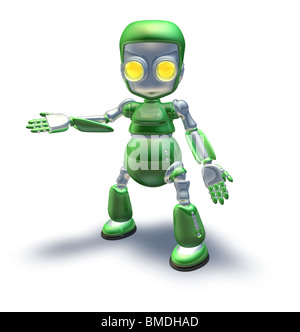 A cute green glossy shiny silver metallic robot character presenting or pointing out something - Stock Photo