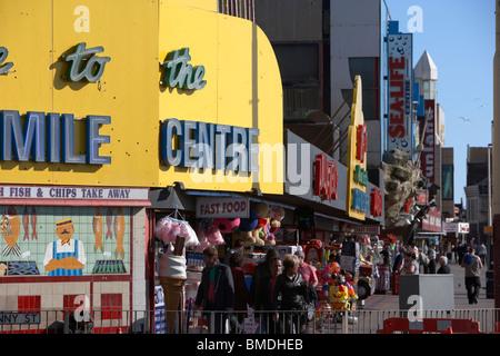 shops and amusement arcades on the golden mile Blackpool seafront lancashire england uk - Stock Photo