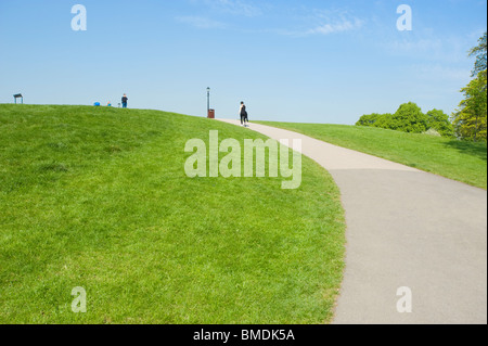 Pathway leading to the top of Primrose Hill, London, England, UK. - Stock Photo