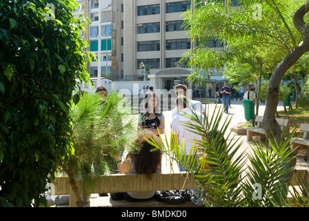 Students in the campus Beirut Arab University Lebanon Middle East - Stock Photo