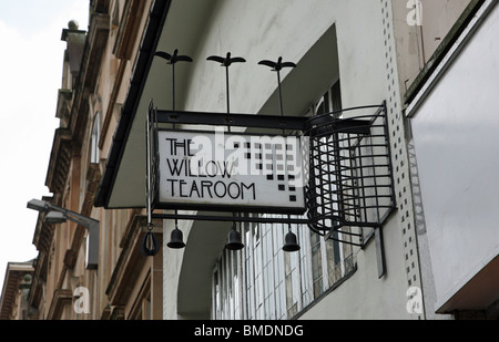 Sign saying The Willow Tea Rooms designed by Charles Rennie Mackintosh Sauchiehall Street in Glasgow, Scotland - Stock Photo