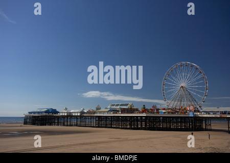 blackpool beach and central pier blackpool lancashire england uk - Stock Photo