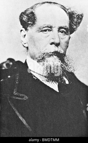 Vintage portrait photo circa 1867 of English author Charles Dickens (1812 - 1870). - Stock Photo
