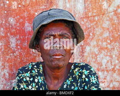 Portrait of an old woman in Gonaives, Haiti - Stock Photo