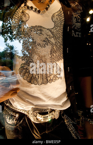 Store window on Lincoln Road, a pedestrian mall, shopping and dining area in South Beach, Miami Beach, Florida, - Stock Photo