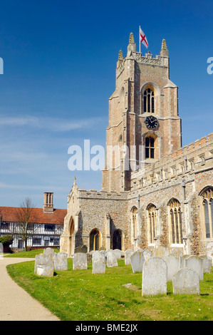 The 15th Century church of St Mary in Stoke-by-Nayland in Suffolk, England - Stock Photo