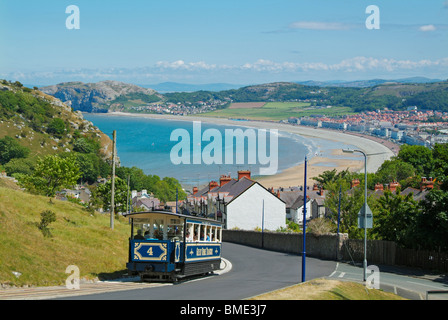 Blue carriage of a tram on The Great Orme Tramway overlooking Llandudno bay North Wales UK GB EU Europe - Stock Photo