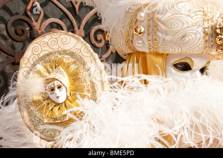Venice Italy Carnival Costumed participant - Stock Photo