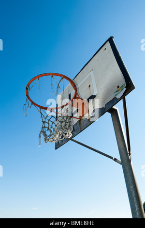 An old basket goal against the sky, Sweden. - Stock Photo