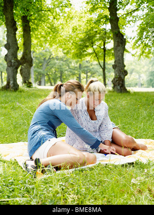 Young women sitting on blanket in park - Stock Photo