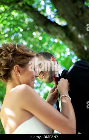 Bride adjusting grooms buttonhole - Stock Photo