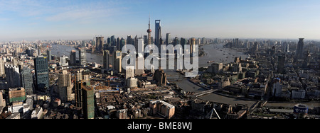 Aerial view of the Bund and Pudong, Shanghai, China - Stock Photo