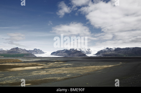 Landscape with glacier in distance - Stock Photo