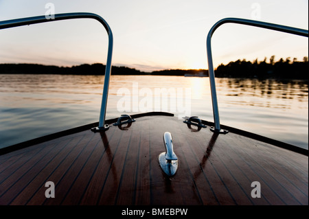 View of river and hills from deck of boat - Stock Photo