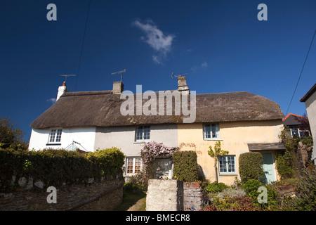 UK, England, Devon, Strete, row of idyllic pastel painted thatched cottages - Stock Photo