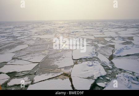 View of broken ice over Baltic sea - Stock Photo