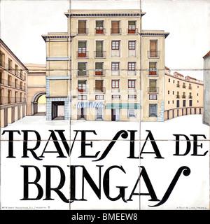 Madrid, Spain. Traditional Tiled Street Sign. Travesia de Bringas (by Alfredo Ruiz de Luna / Madrid) - Stock Photo