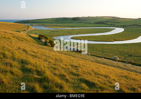 River Cuckmere meandering through Cuckmere Haven near Seaford, East Sussex, England, UK - Stock Photo
