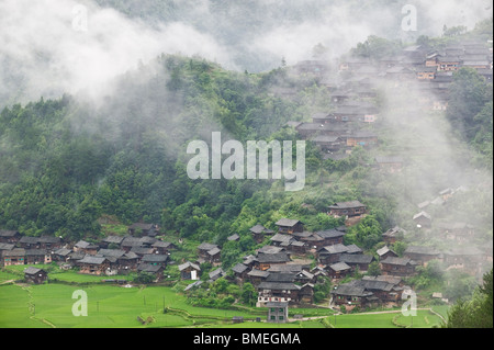 Upper Langde Miao Village, Leishan County, Qiandongnan Miao and Dong Autonomous Prefecture, Guizhou, China - Stock Photo