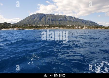 Mongo montgo mountain from mediterranean sea in Denia Alicante Spain - Stock Photo