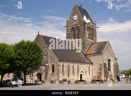 MEDIEVAL CHURCH SAINTE MERE EGLISE, FRANCE - Stock Photo