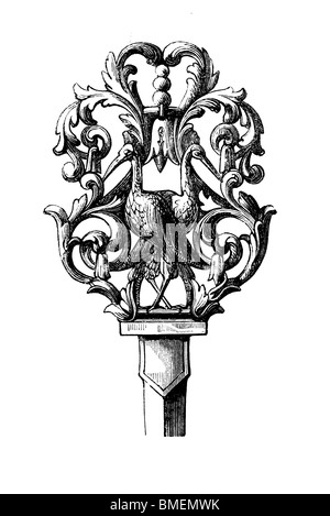 Black and white engraving cut out isolated on white. Illustration of an art item exhibited at the Great London Exhibition - Stock Photo