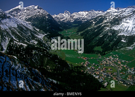 overview, view from above, town of Lech am Arlberg, Lech am Arlberg, Voralberg State, Austria, Europe - Stock Photo