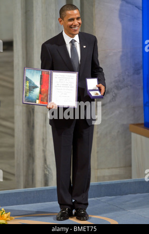 President Barack Obama accepts the 2009 Nobel Peace Prize in Oslo, Norway. (Photo by Scott London) - Stock Photo