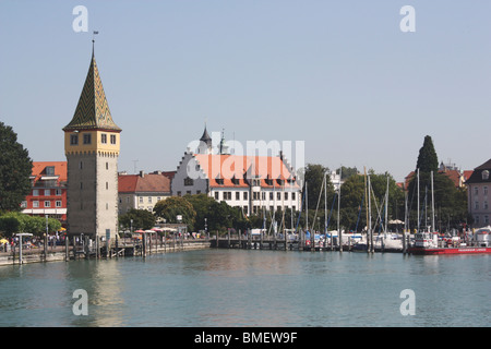 Lindau (Bodensee) Marina and The Mangturm (Mangenturm) tower on the edge of Lake Constance (Konstanz) in Germany - Stock Photo