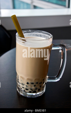 Delicious pearl milk tea closeup - Stock Photo