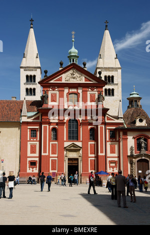 St. George's Basilica, Prague Castle St. George's Basilica was founded by Prince Vratislav (915-921). - Stock Photo