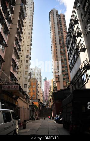 Tai Ping Shan Street, past the Pak Sing Ancestral Hall towards ladder steps below the Kwun Yam Temple, Sheung Wan, - Stock Photo