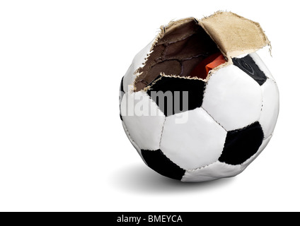 Soccer ball opened - Stock Photo