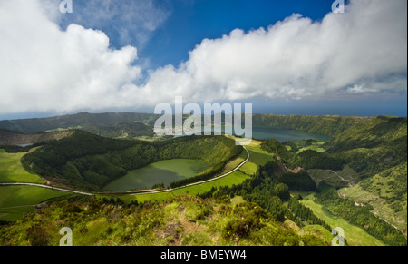 Beautiful landscape view over Sete Cidades lake and Santiago lake, at São Miguel Island - Azores. - Stock Photo