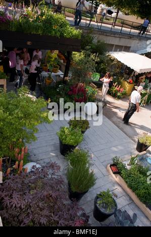 Adults Visiting Paris, France, Garden Festival, Jardin des Tuileries, TUileries Gardens, Aerial Patio Terrace Design - Stock Photo
