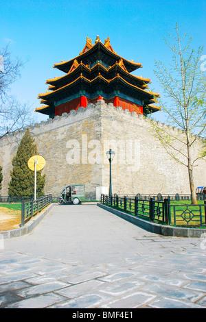 Corner tower in Forbidden City, Beijing, China - Stock Photo