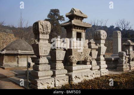 View of statues, Tomb Of Eunuch Tian Yi, Beijing, China - Stock Photo