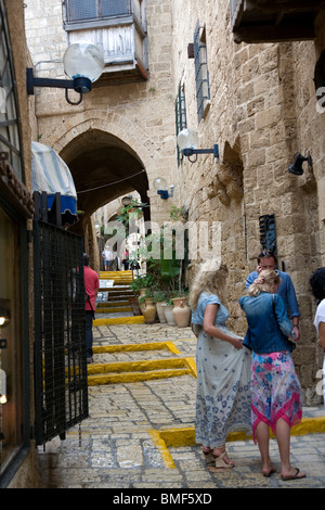 Alleyway in Old Jaffa  in the artist's quarter - Stock Photo