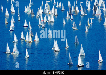Start of the 2009 Bol d'Or sailing race, on Lac Léman, Geneva. Taken from a high viewpoint overlooking the lake - Stock Photo