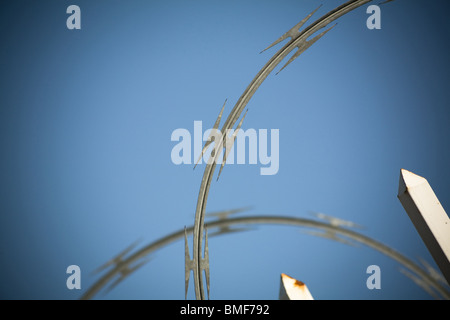 barbed wire netting close up shot - Stock Photo