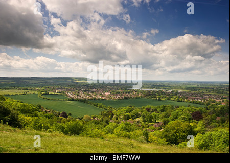 A view from Whiteleaf cross over a Chilterns rural countryside landscape towards Monks Risborough Buckinghamshire - Stock Photo