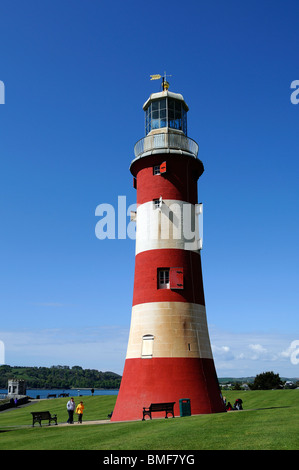 Smeatons tower on Plymouth Hoe, Devon, Uk - Stock Photo